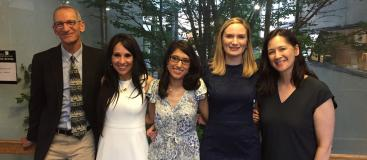 MDRoy Colven, MD, Residency Program Director, co-chief residents Maryam Safaee, MD, Erica Tarabadkar, MD, and Vanessa Pascoe, MD, and Michi Shinohara, MD, Associate Program Director, at graduation.